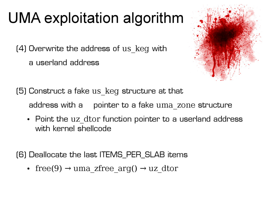 UMA exploitation algorithm (4) Overwrite the ad...
