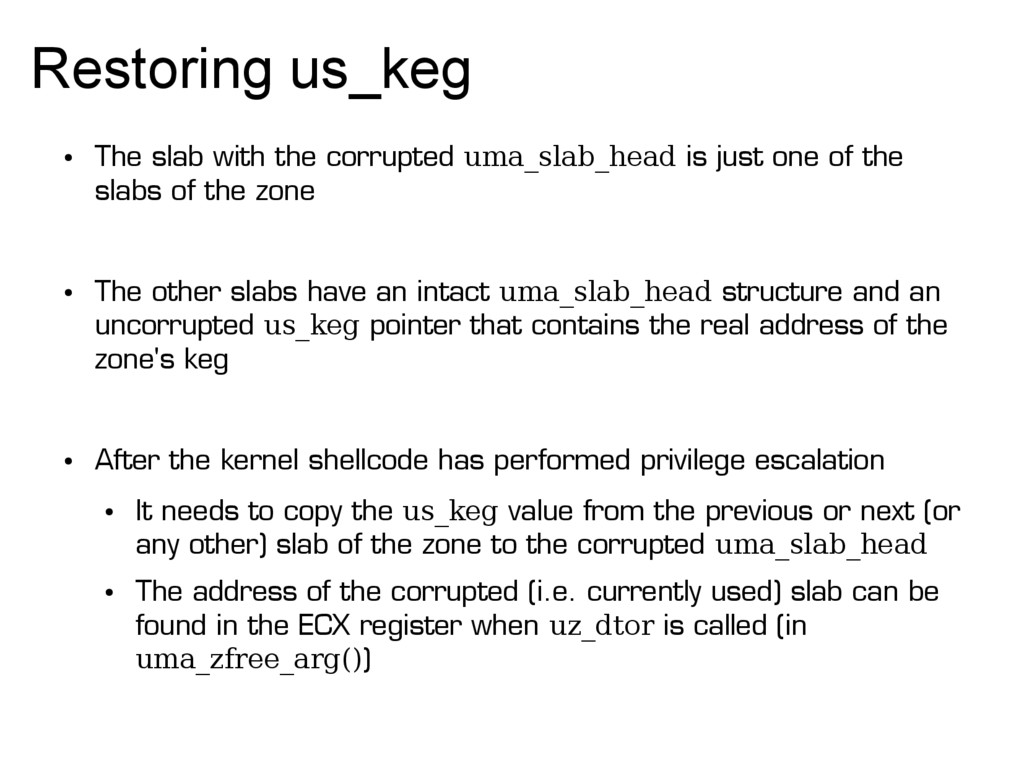 Restoring us_keg ● The slab with the corrupted ...