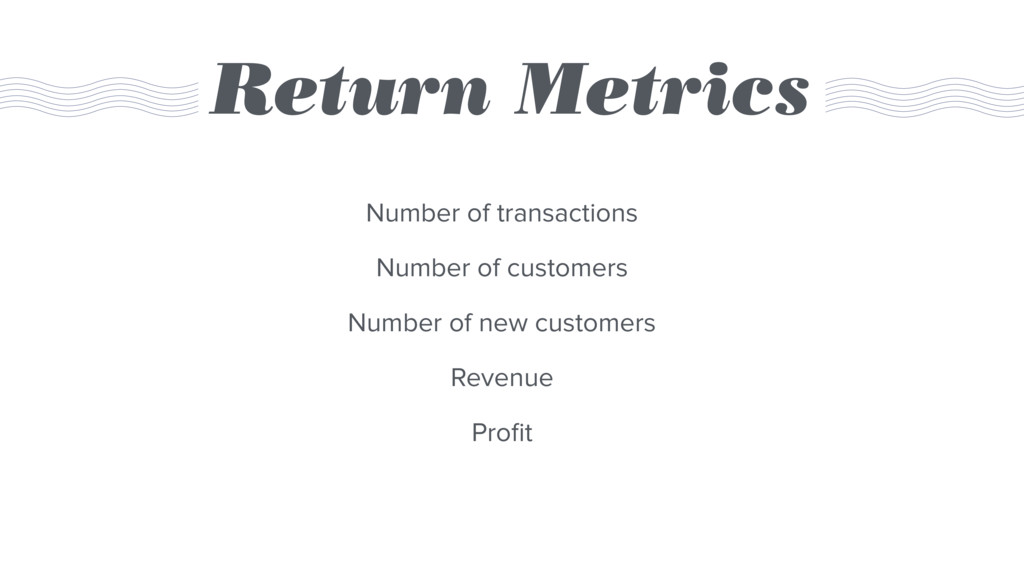 Return Metrics Number of transactions Number of...