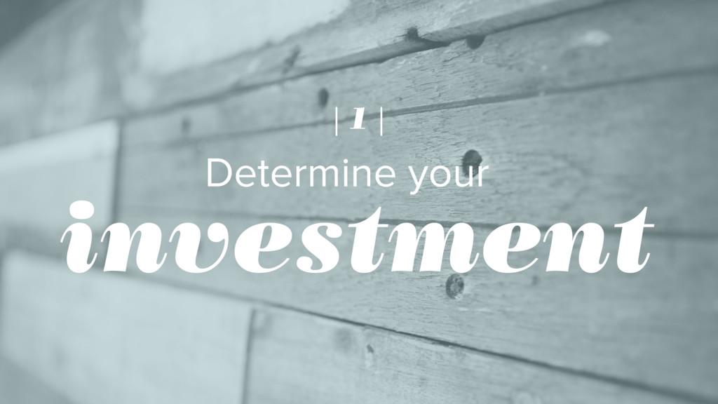 Determine your investment | 1 |