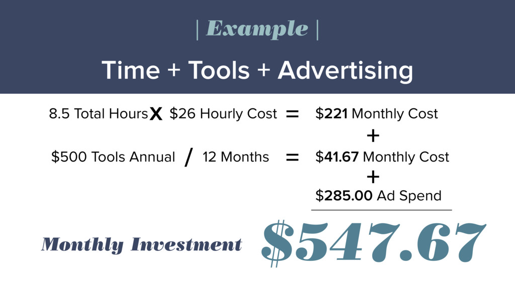Time + Tools + Advertising | Example | $26 Hour...