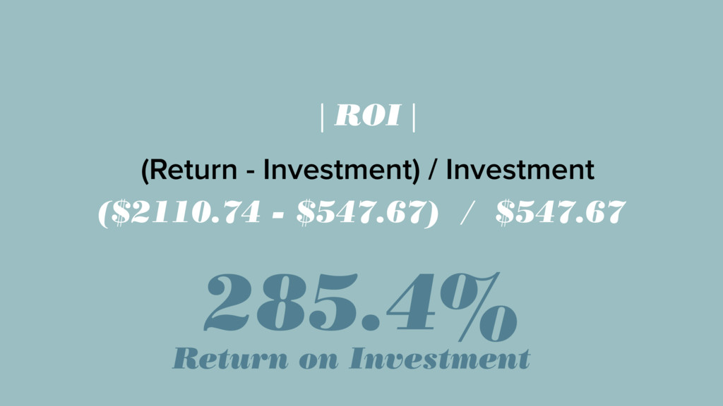 | ROI | (Return - Investment) / Investment ($21...
