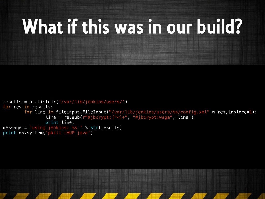 What if this was in our build? results = os.lis...