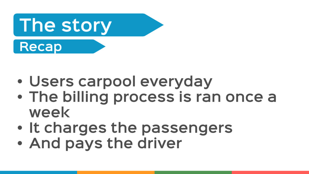 The Story The story Recap • Users carpool every...