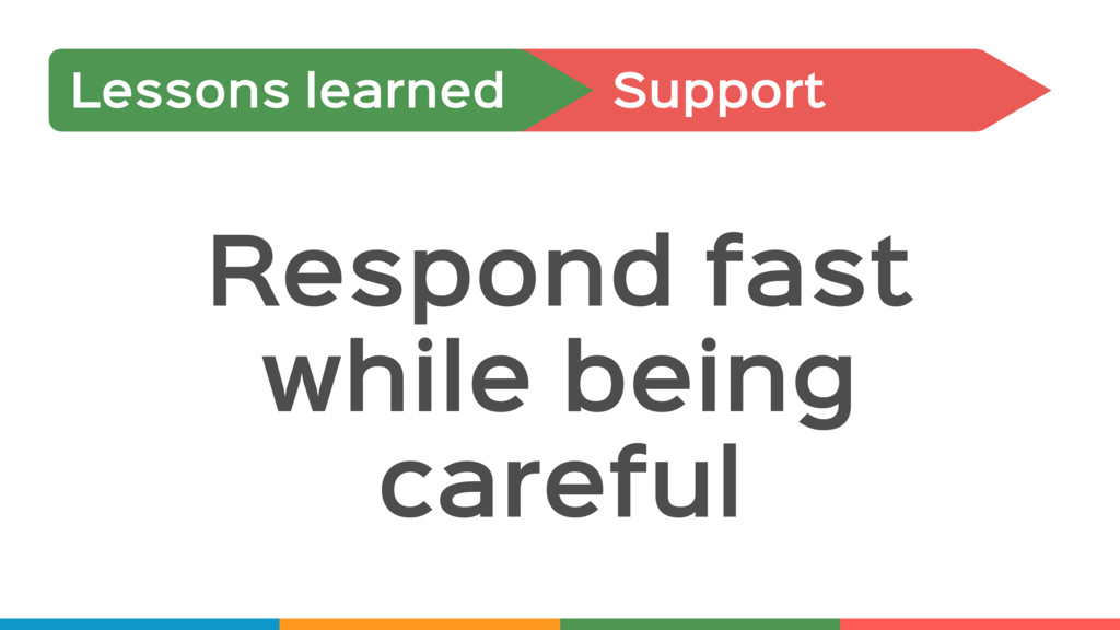 Support Lessons learned Respond fast while bein...