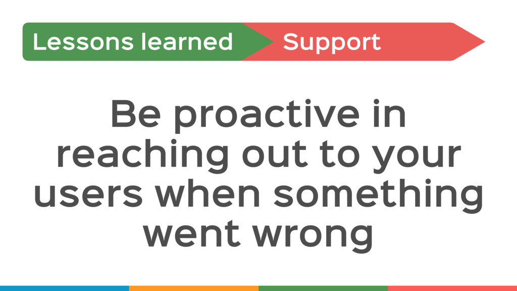 Support Lessons learned Be proactive in reachin...