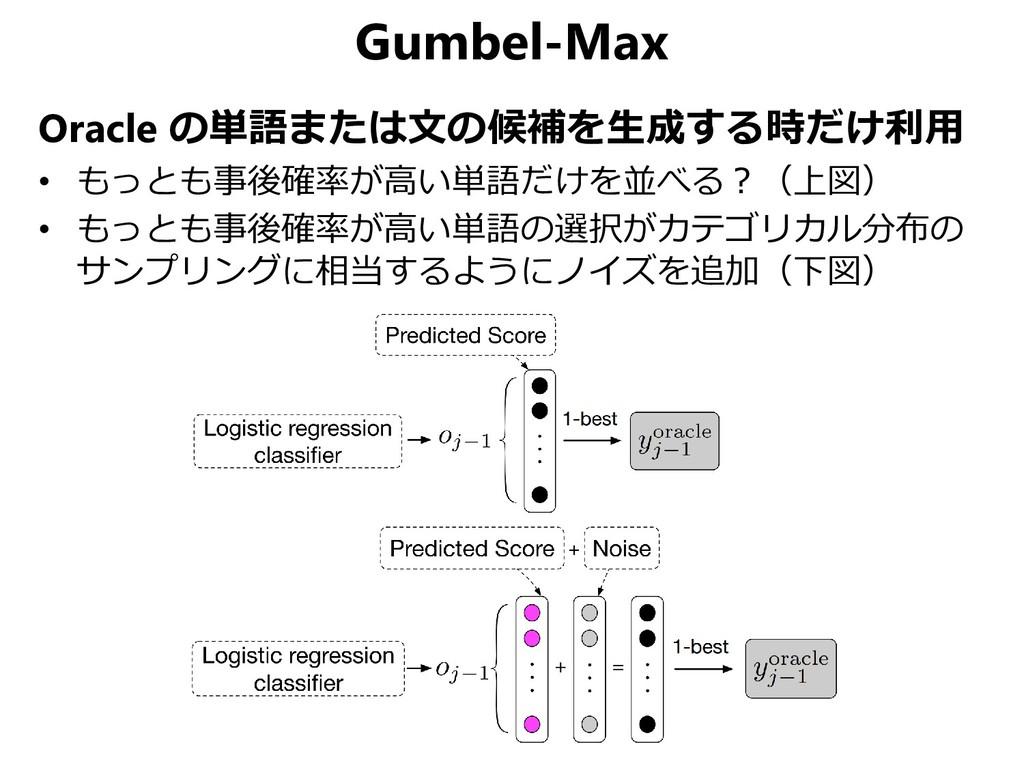 Gumbel-Max Oracle の単語または文の候補を生成する時だけ利用 • もっとも事後...