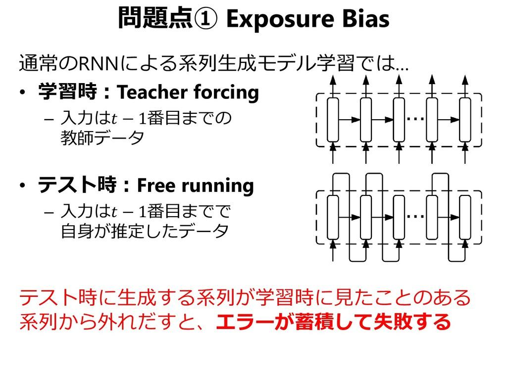 問題点① Exposure Bias 通常のRNNによる系列生成モデル学習では… • 学習時:...