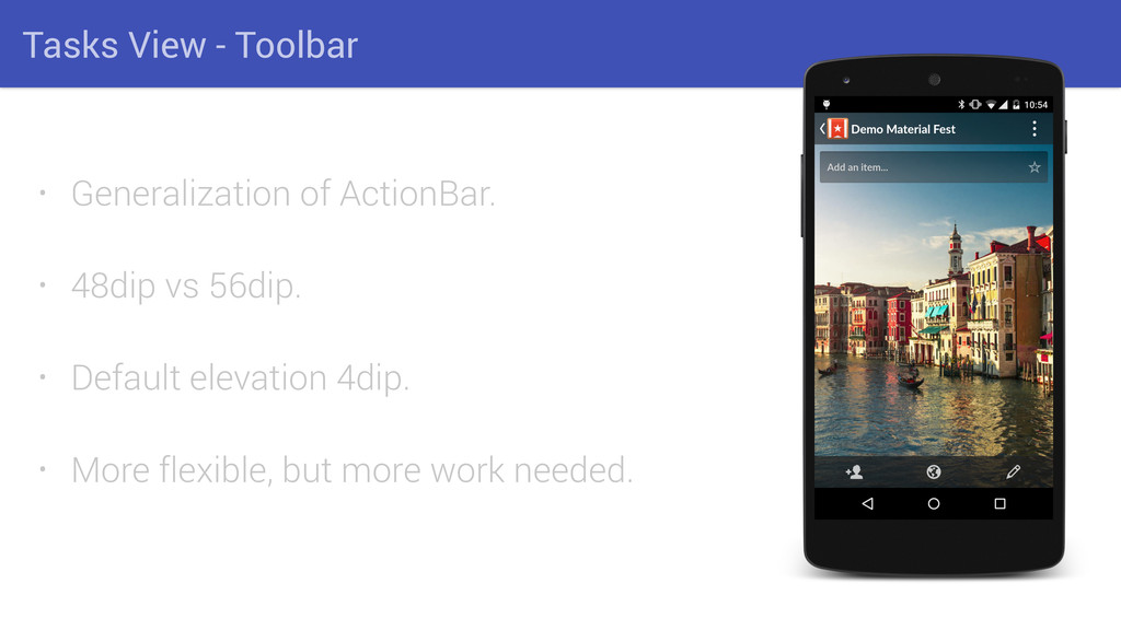 Tasks View - Toolbar • Generalization of Action...