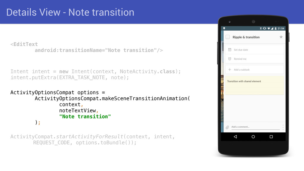 Details View - Note transition <EditText