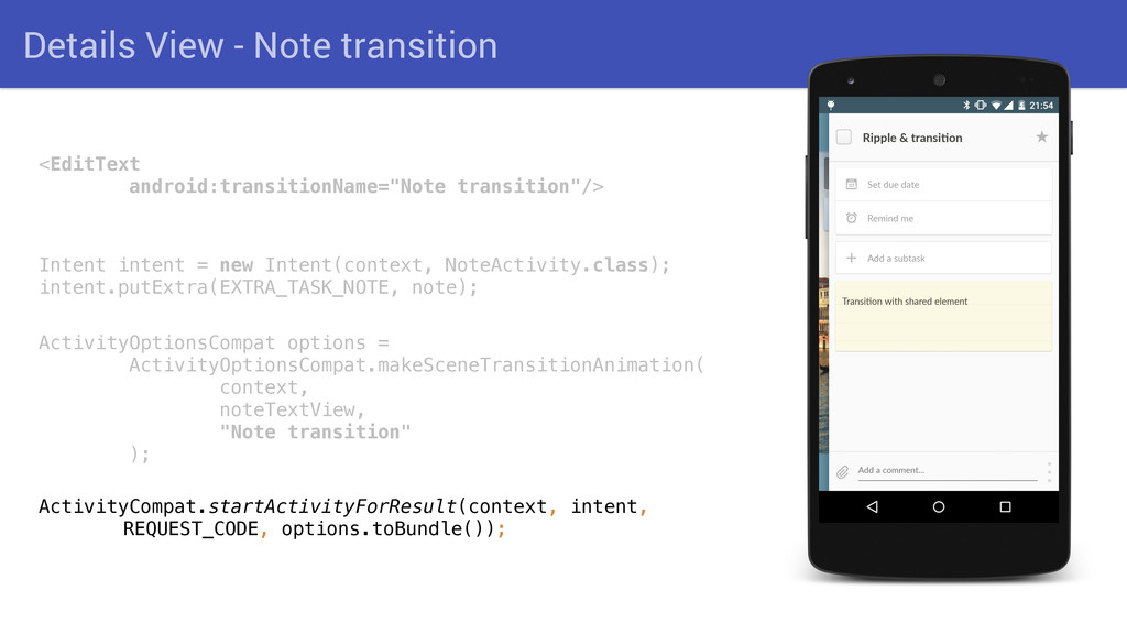 Details View - Note transition <EditText andro...