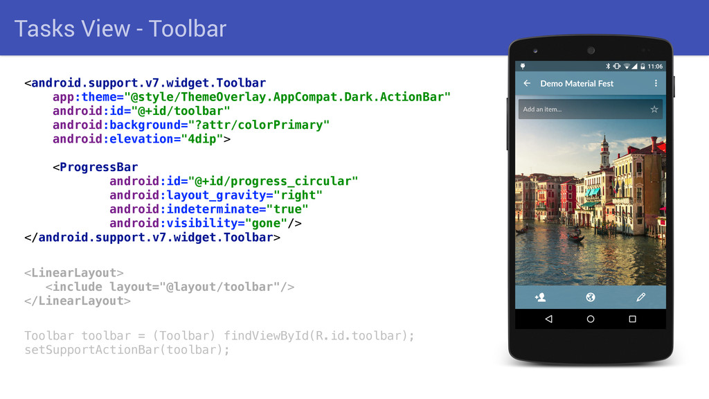 Tasks View - Toolbar <android.support.v7.widget...