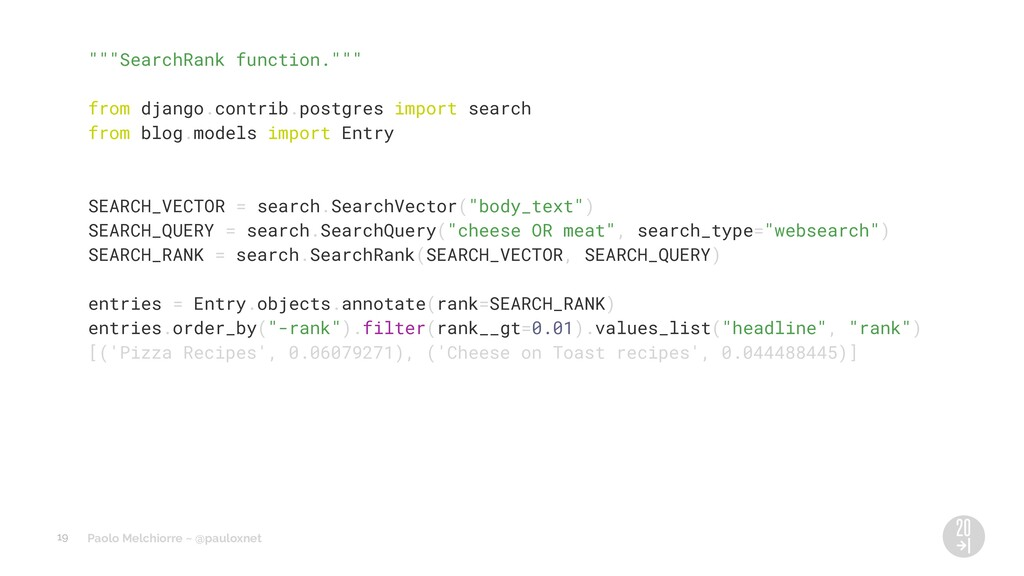 "Paolo Melchiorre ~ @pauloxnet """"""SearchRank fun..."