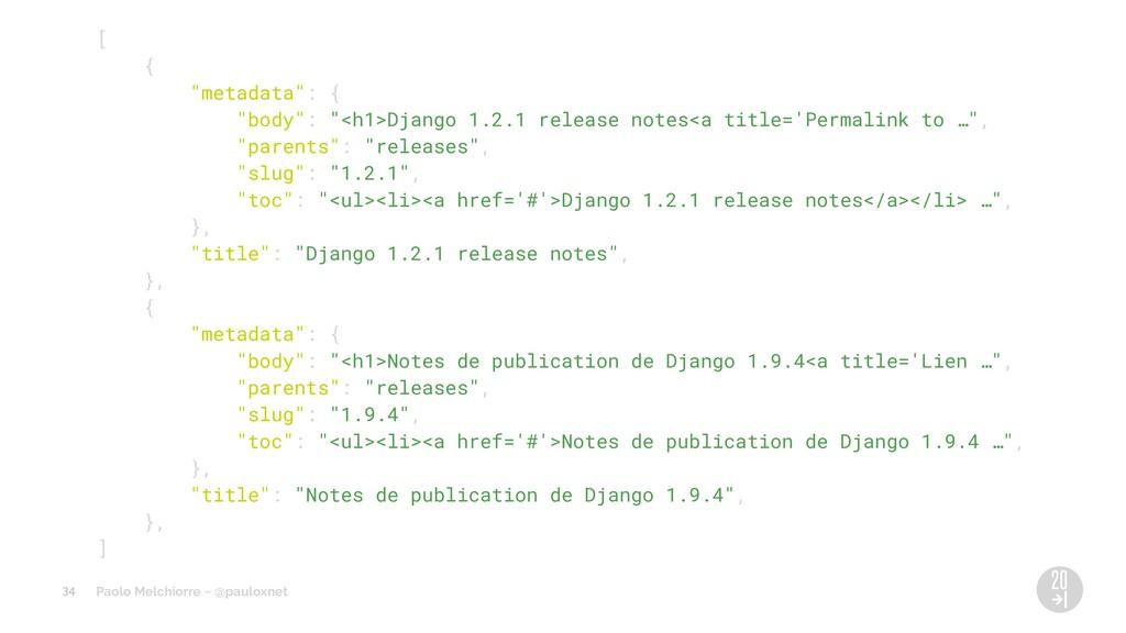 "Paolo Melchiorre ~ @pauloxnet [ { ""metadata"": {..."