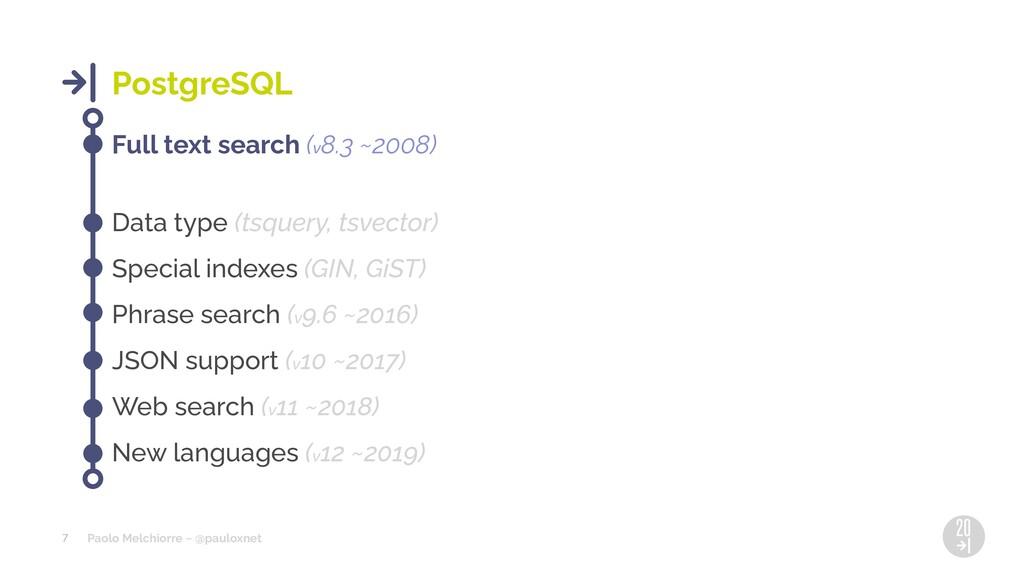Paolo Melchiorre ~ @pauloxnet 7 PostgreSQL Full...