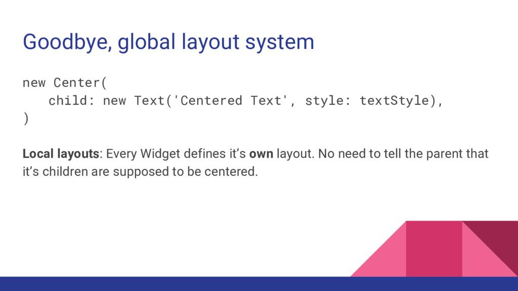 Goodbye, global layout system new Center( child...