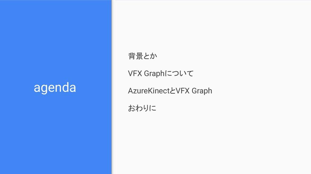 agenda 背景とか VFX Graphについて AzureKinectとVFX Graph...