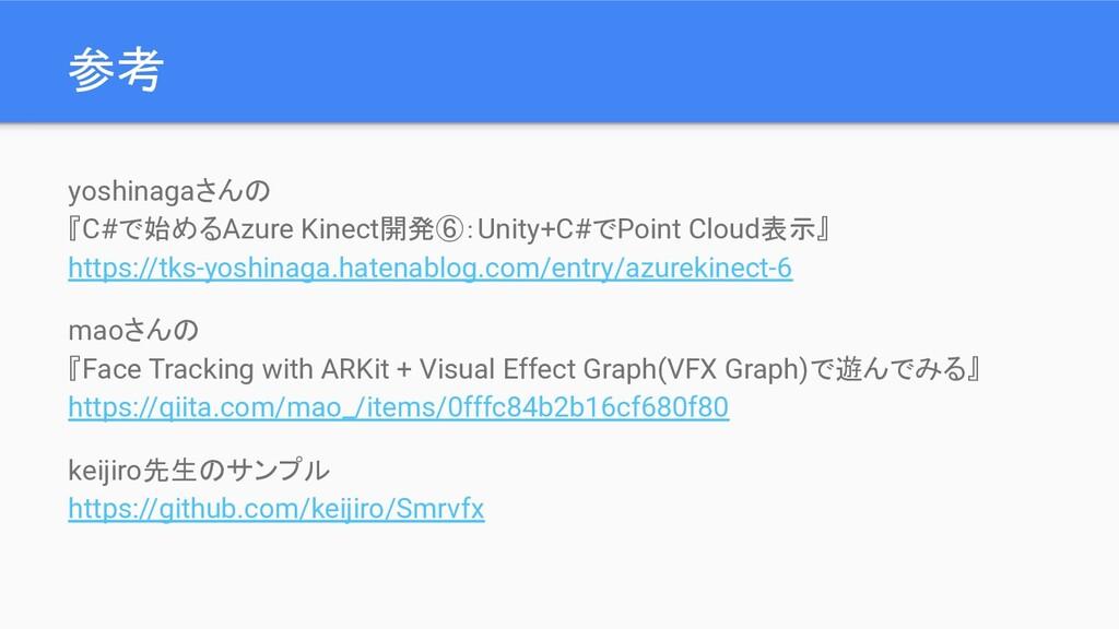 参考 yoshinagaさんの 『C#で始めるAzure Kinect開発⑥:Unity+C#...