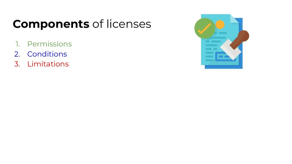 Components of licenses 1. Permissions 2. Condit...