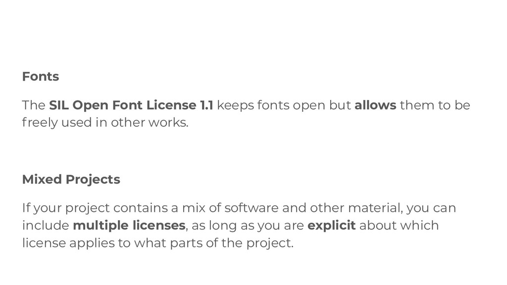 Fonts The SIL Open Font License 1.1 keeps fonts...