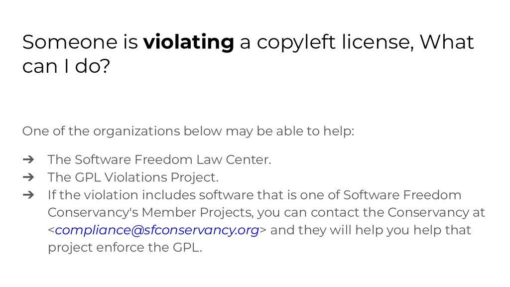 Someone is violating a copyleft license, What c...