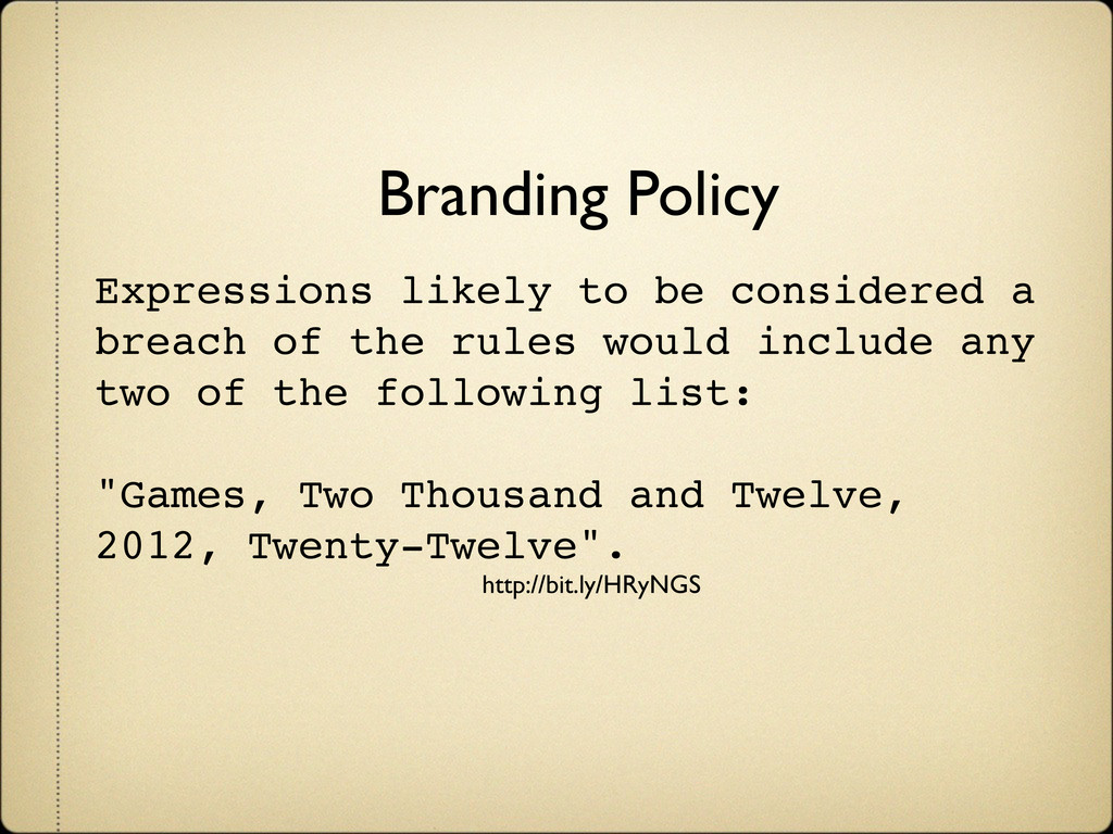 Branding Policy Expressions likely to be consid...