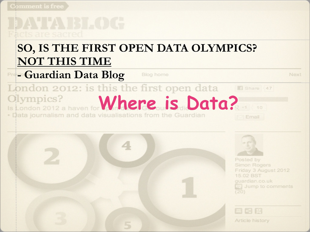 SO, IS THE FIRST OPEN DATA OLYMPICS? NOT THIS T...