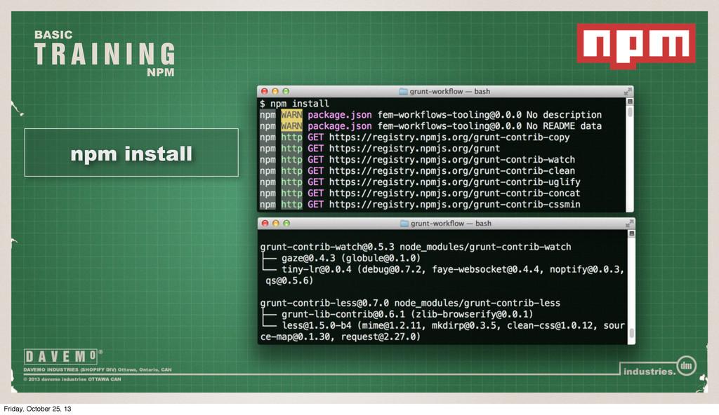 T R A I N I N G BASIC NPM npm install Friday, O...