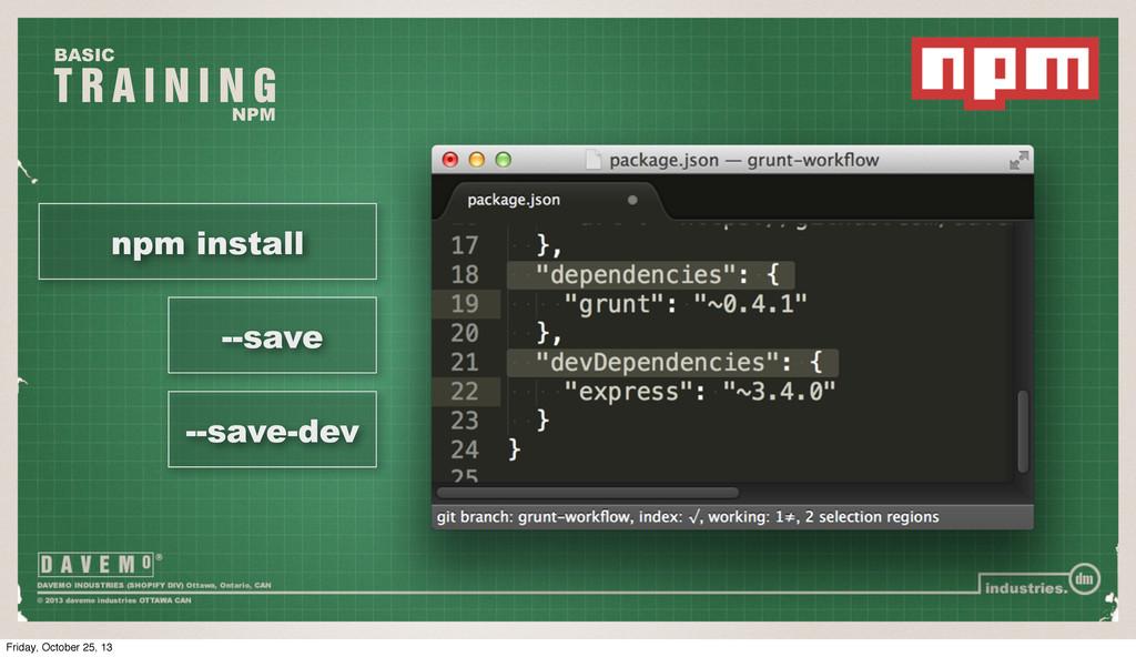 T R A I N I N G BASIC NPM npm install --save --...