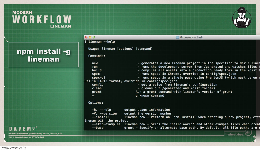 W O R K F L O W MODERN LINEMAN npm install -g l...
