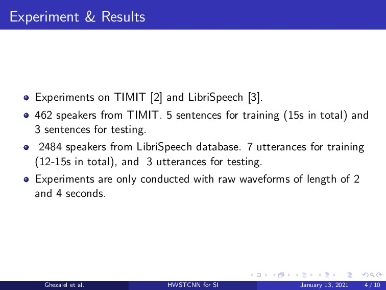 Experiment & Results Experiments on TIMIT [2] a...
