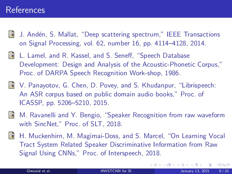 """References J. And´ en, S. Mallat, """"Deep scatter..."""