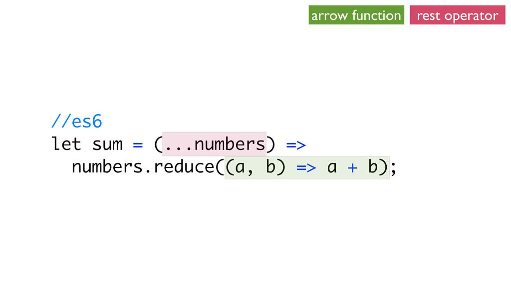 //es6 let sum = (...numbers) => numbers.reduce(...