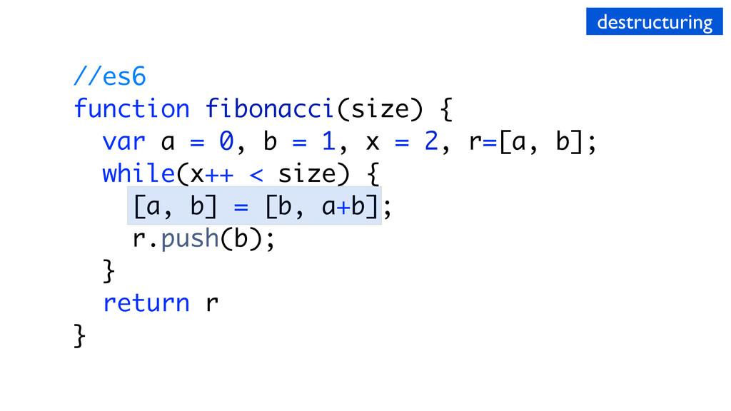 //es6 function fibonacci(size) { var a = 0, b =...