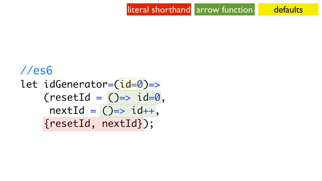 //es6 let idGenerator=(id=0)=> (resetId = ()=> ...