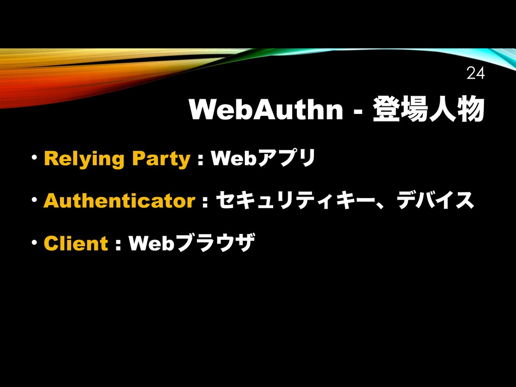 WebAuthn - ొ৔ਓ෺ !24 • Relying Party : WebΞϓϦ • ...