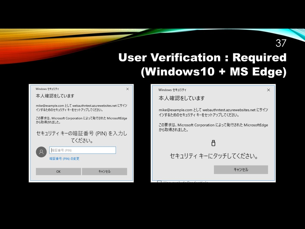 User Verification : Required (Windows10 + MS Ed...