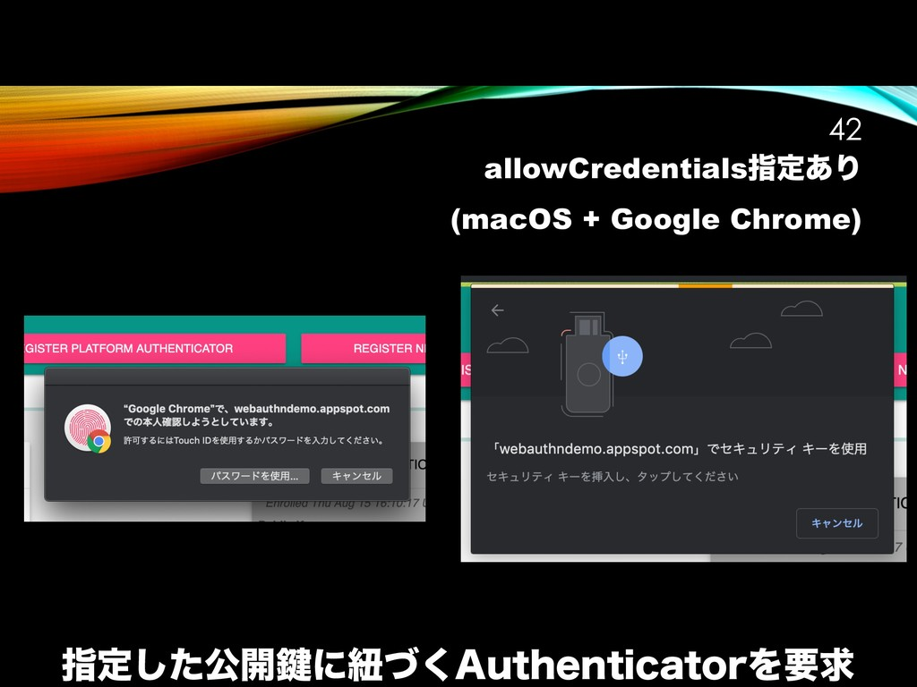 allowCredentialsࢦఆ͋Γ (macOS + Google Chrome) !4...