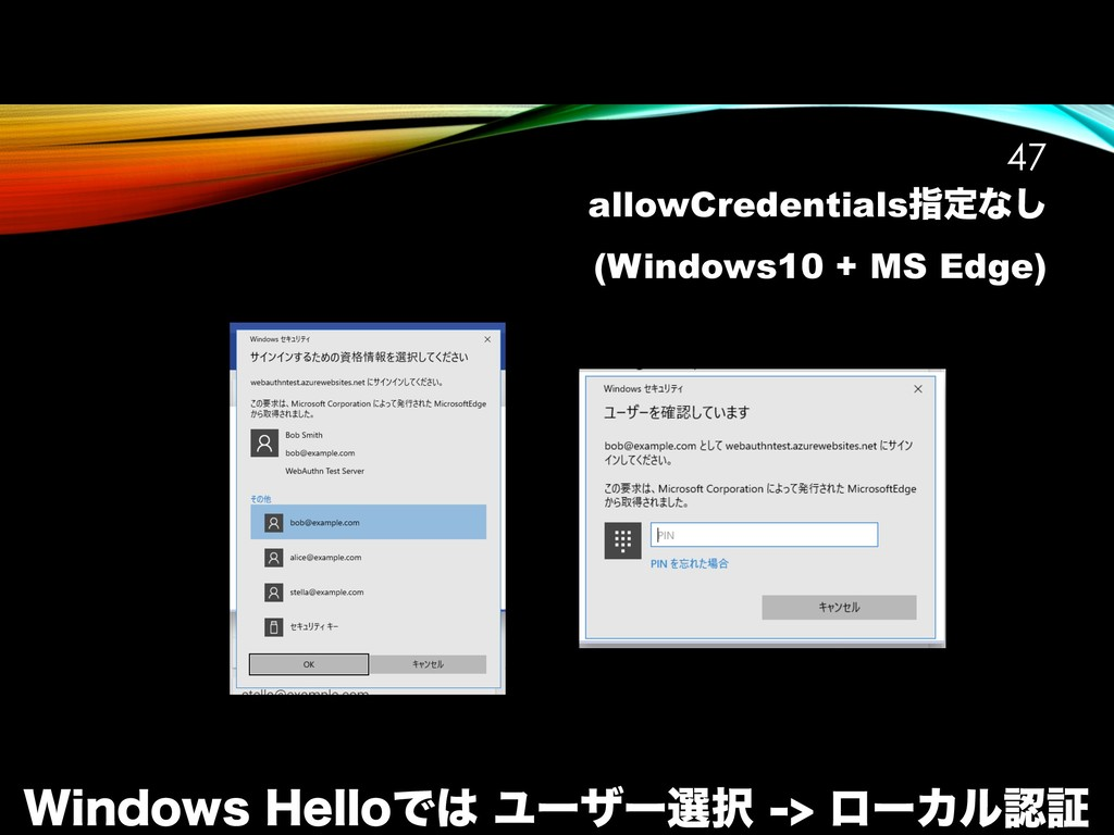 allowCredentialsࢦఆͳ͠ (Windows10 + MS Edge) !47 ...