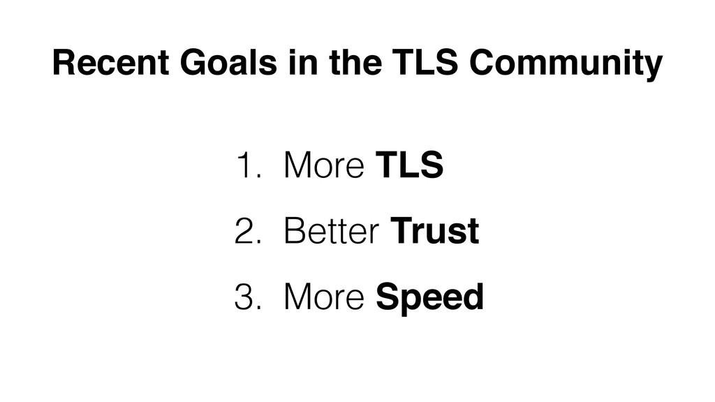 Recent Goals in the TLS Community 1. More TLS 2...