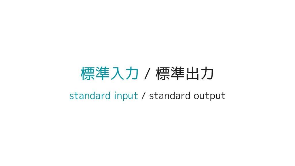 標準入力 / 標準出力 standard input / standard output