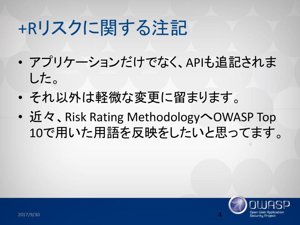 +Rリスクに関する注記 • アプリケーションだけでなく、APIも追記されま した。 • それ以...