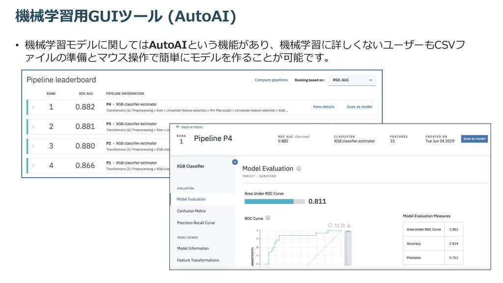 機械学習⽤GUIツール (AutoAI) • 機械学習モデルに関してはAutoAIという機能が...