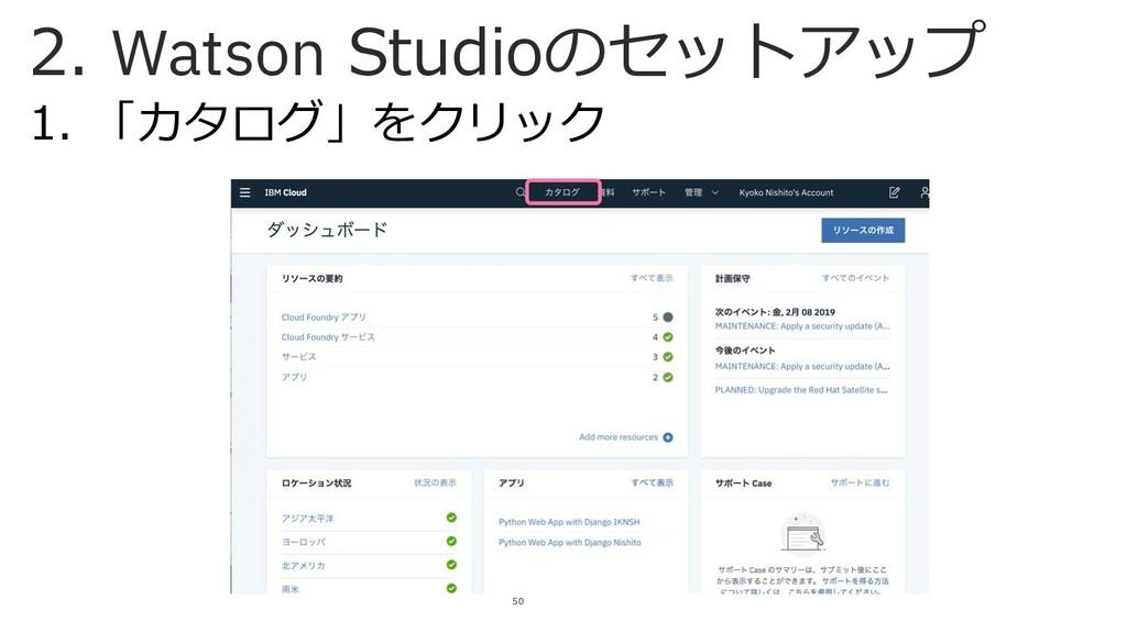 1. 「カタログ」をクリック 50 2. Watson Studioのセットアップ