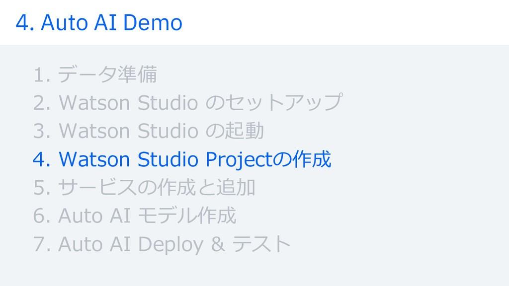 4. Auto AI Demo 1. データ準備 2. Watson Studio のセットア...