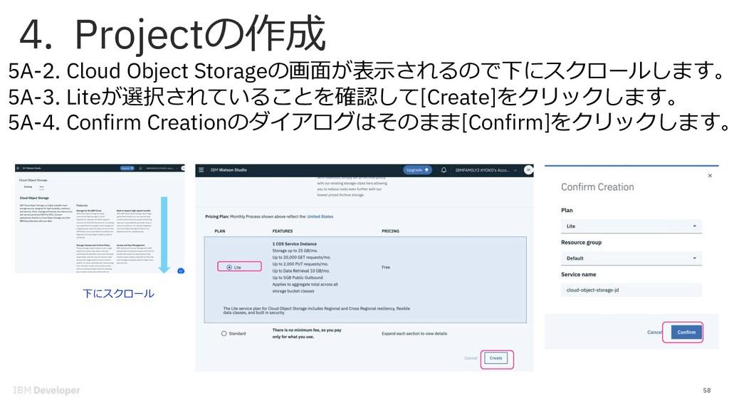4. Projectの作成 58 5A-2. Cloud Object Storageの画⾯が...
