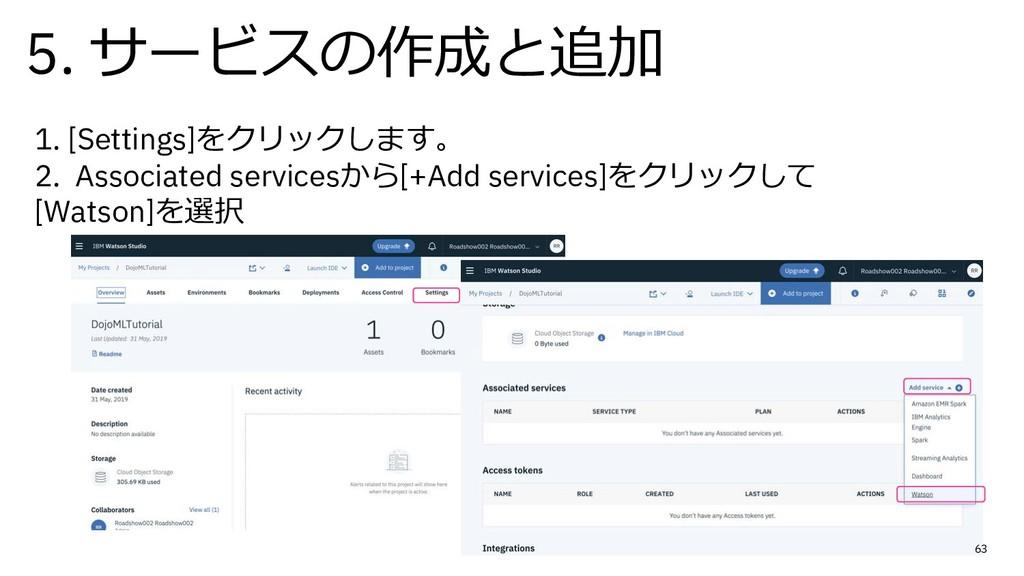 5. サービスの作成と追加 63 1. [Settings]をクリックします。 2. Asso...