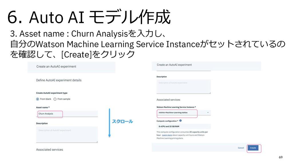 6. Auto AI モデル作成 69 3. Asset name : Churn Analy...
