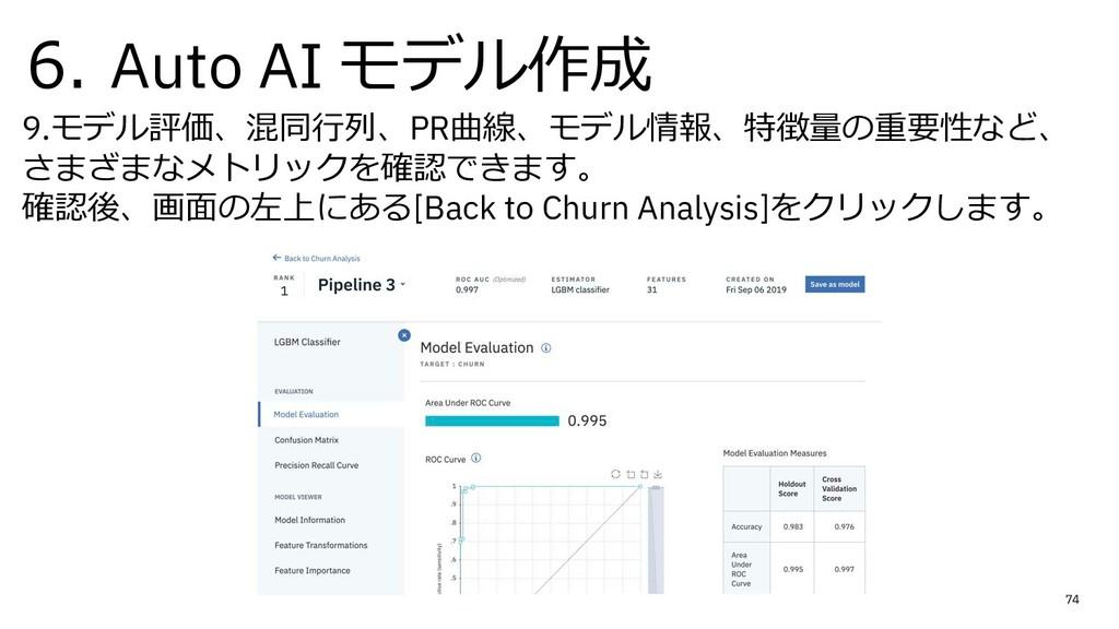 6. Auto AI モデル作成 9.モデル評価、混同⾏列、PR曲線、モデル情報、特徴量の重要...