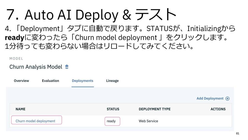 7. Auto AI Deploy & テスト 4. 「Deployment」タブに⾃動で戻り...